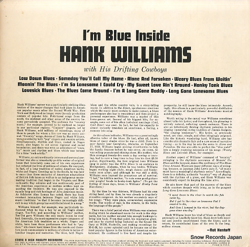 WILLIAMS, HANK i'm blue inside E3926 - back cover