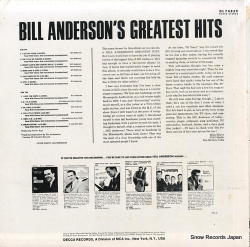 ANDERSON, BILL bill anderson's greatest hits DL74859 - back cover