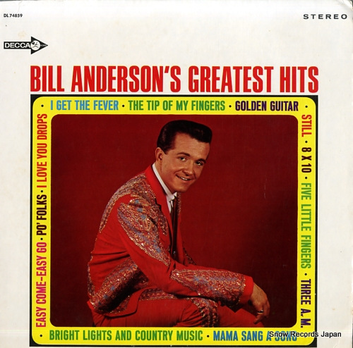 ANDERSON, BILL bill anderson's greatest hits DL74859 - front cover