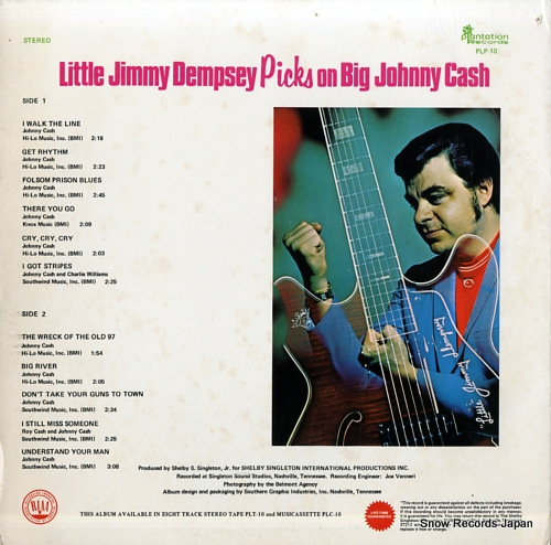 DEMPSEY, LITTLE JIMMY little jimmy dempsey picks on big johnny cash PLP-10 - back cover