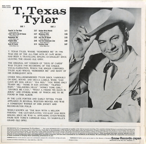 TYLER, T. TEXAS his great hits JS-6042 - back cover