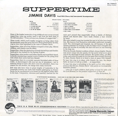 DAVIS, JIMMIE suppertime DL78953 - back cover