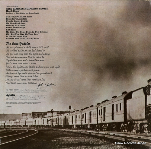 SNOW, HANK the jimmie rodgers story LSP-4708 - back cover