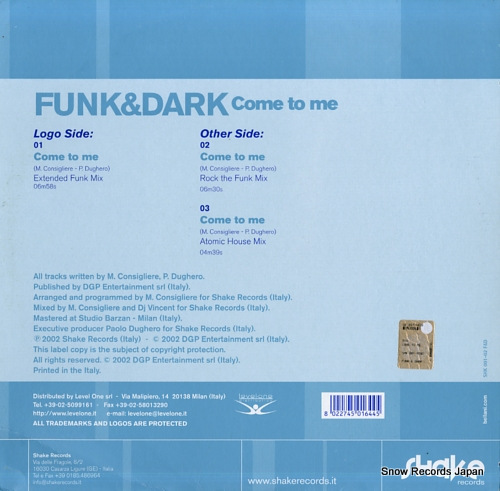 FUNK AND DARK come to me SHK001-02 - back cover