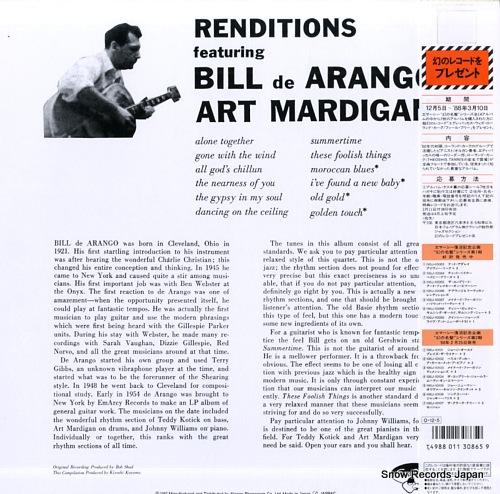 DE ARANGO, BILL, AND ART MARDIGAN renditions 195J-10086 - back cover