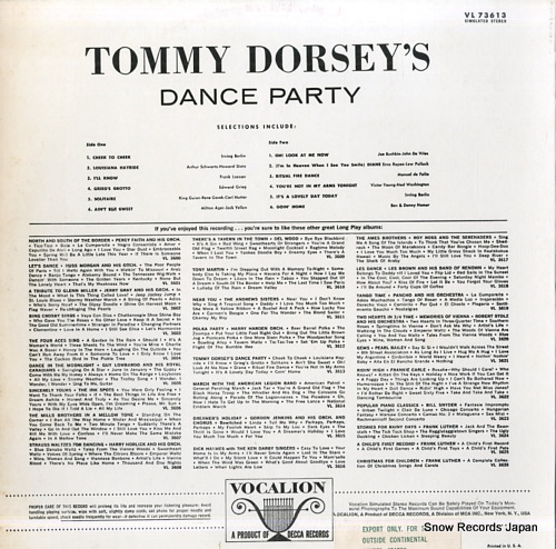 DORSEY, TOMMY tommy dorsey's dance party VL73613 - back cover