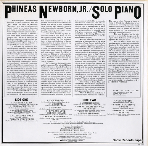 NEWBORN, PHINEAS, JR. solo piano SD1672 - back cover