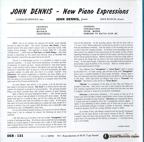 DENNIS, JOHN new piano expressions DEB-121 - back cover