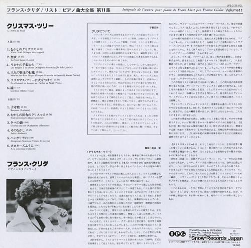 CLIDAT, FRANCE integrale de l'oeuvre pour piano de franz liszt par france clidat volume 11 UPS-3111-PG - back cover
