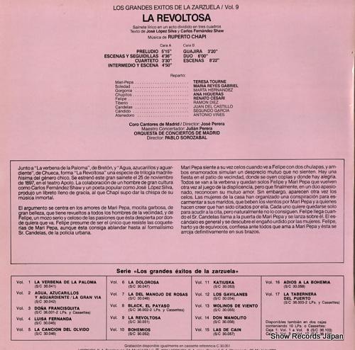 SOROZABAL, PABLO la revoltosa S30.051 - back cover