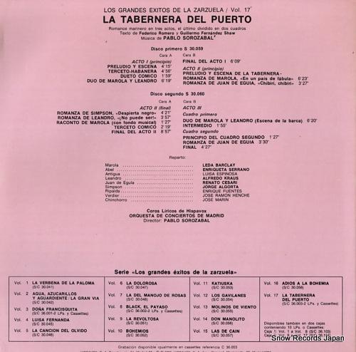 SOROZABAL, PABLO la tabernera del puerto S36.003 - back cover