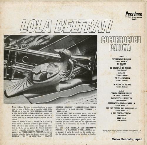 BELTRAN, LOLA cucurrucucu paloma PEERLESS1740 - back cover