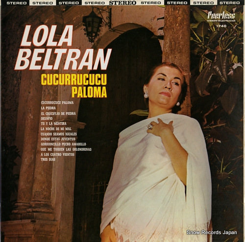 BELTRAN, LOLA cucurrucucu paloma PEERLESS1740 - front cover