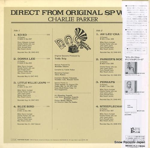 PARKER, CHARLIE direct from original sp vol.1 K23P-6336 - back cover