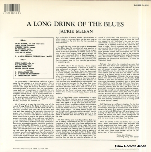 MCLEAN, JACKIE a long drink of the blues OJC-253 - back cover