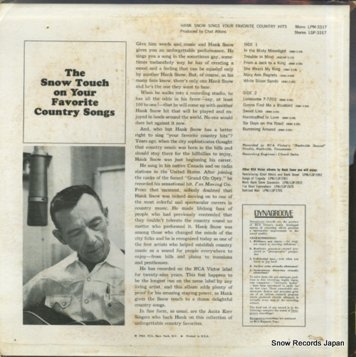 SNOW, HANK sings your favorite country hits LSP-3317 - back cover