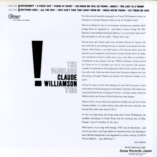 WILLIAMSON, CLAUDE the fabulous NLP6014 - back cover