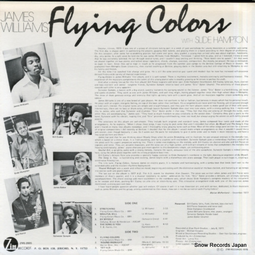 WILLIAMS, JAMES flying colors ZMS-2005 - back cover