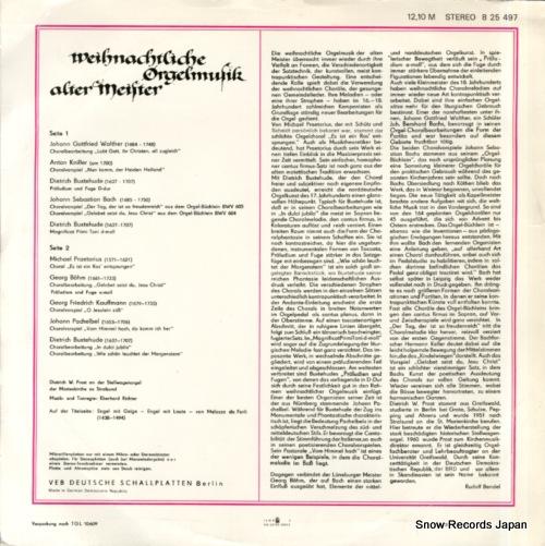 PROST, DIETRICH W. weihnachtliche orgelmusik alter meister 825497 - back cover