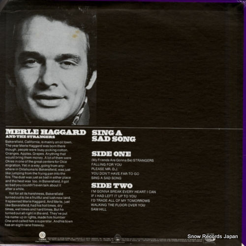 HAGGARD, MERLE sing a sad song SF-708 - back cover