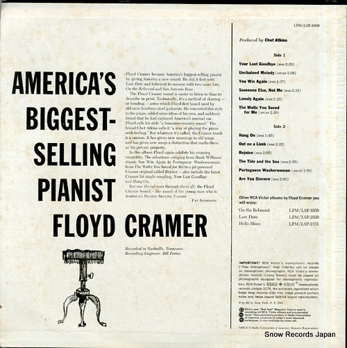 CRAMER, FLOYD america's biggest - selling pianist LSP-2466 - back cover