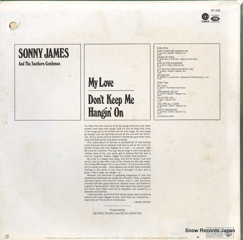 JAMES, SONNY my love / don't keep me hangin' on ST-478 - back cover