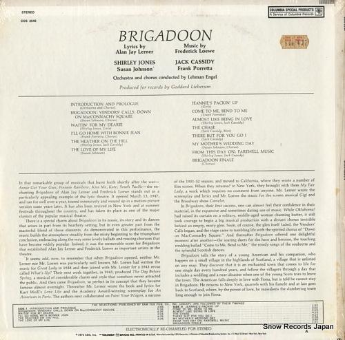LOEWE, FREDERICK brigadoon COS2540 - back cover