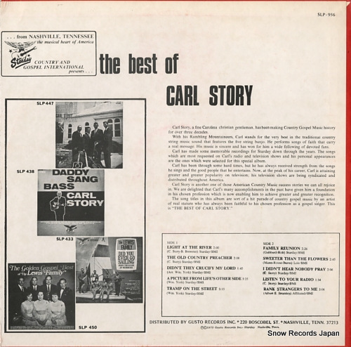 STORY, CARL the best of carl story SLP-956 - back cover