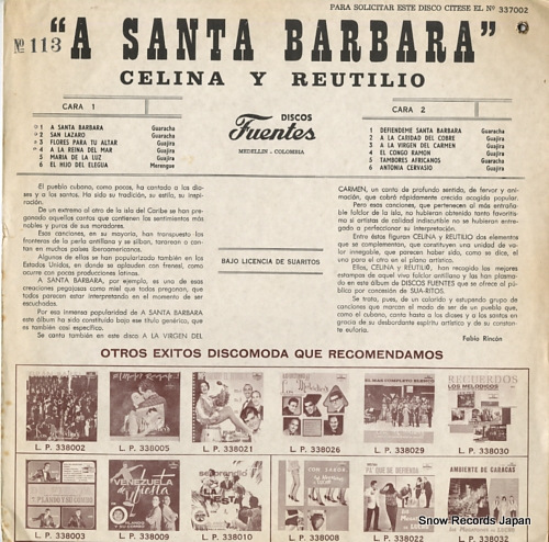 CELINA Y REUTILIO a santa barbara LP-337002 - back cover