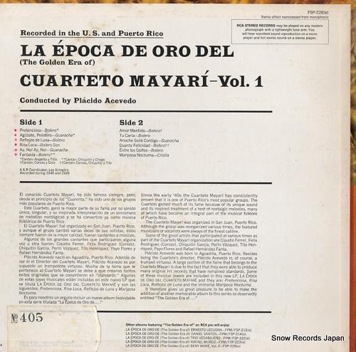 CUARTETO MAYARI la epoca de oro del(vol.1 1946-1949) FSP-228 - back cover