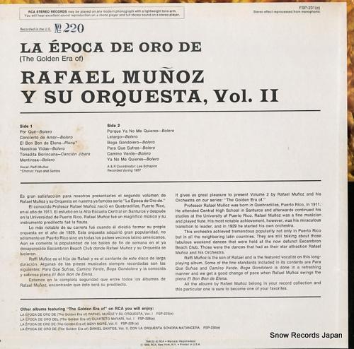 MUNOZ, RAFAEL la epoca de oro de rafael munoz y su orquesta vol.2 (1957) FSP-231 - back cover