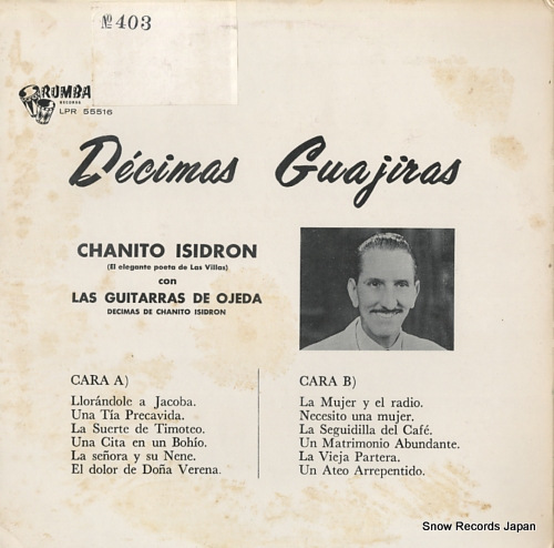 ISIDRON, CHANITO decimas guajiras vol.1 RLP55516 - back cover