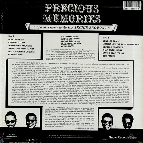 FIVE BLIND BOYS, THE precious memories MCA-28002 - back cover