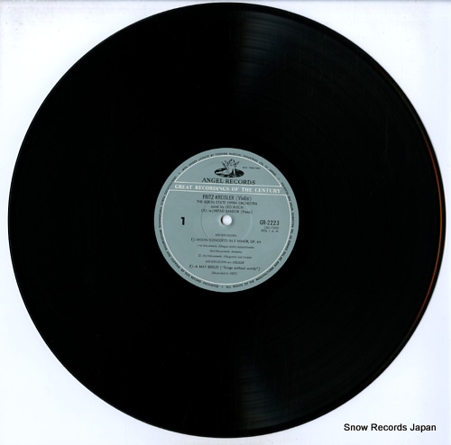 KREISLER, FRITZ mendelssohn; violin concerto in e minor GR-2223 - disc