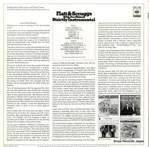 FLATT, LESTER, AND EARL SCRUGGS strictly instrumental 20AP1650 - back cover