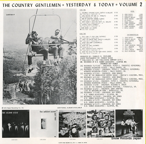 COUNTRY GENTLEMEN, THE yesterday & today volume 2 LAX6017 - back cover
