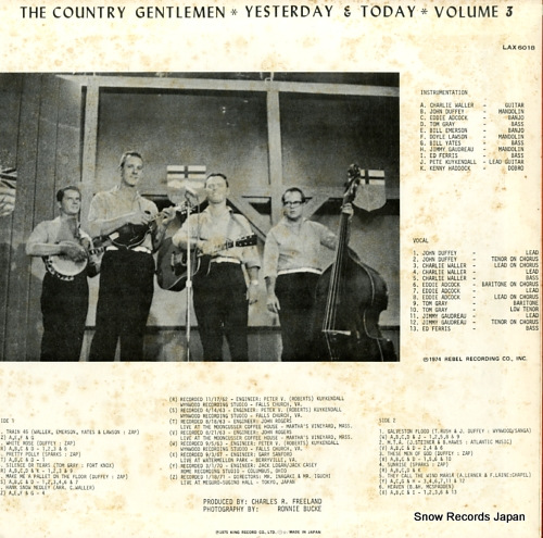COUNTRY GENTLEMEN, THE yesterday & today volume 3 LAX6018 - back cover