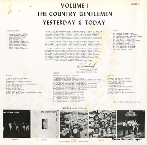 COUNTRY GENTLEMEN, THE yesterday & today volume 1 LAX6016 - back cover
