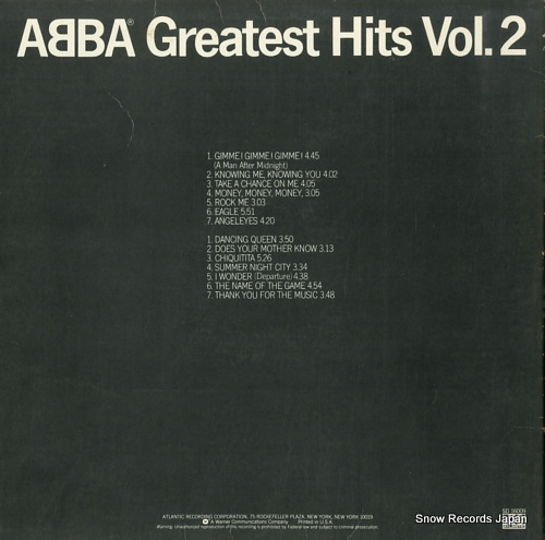 ABBA greatest hits vol.2 SD16009 - back cover