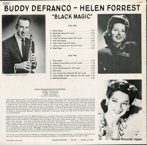 DEFRANCO, BUDDY, AND HELEN FORREST black magic LP-1801 - back cover