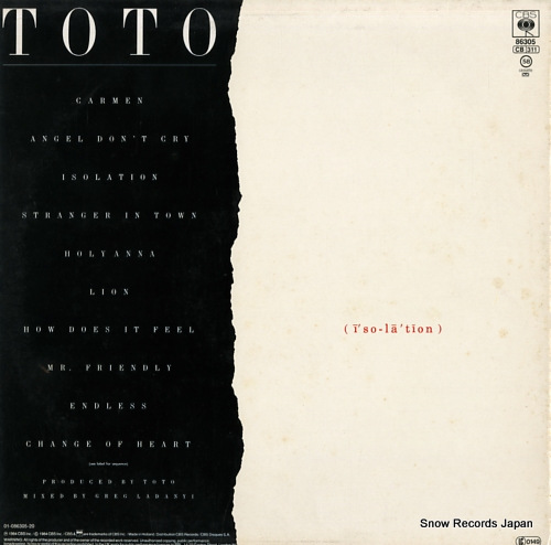 TOTO isolation CBS86305 - back cover