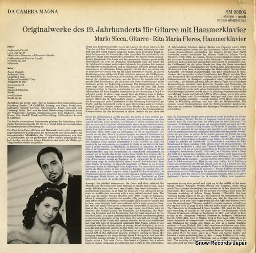 SICCA, MARIO, AND RITA FLERES schlager des rokoko SM93605 - back cover
