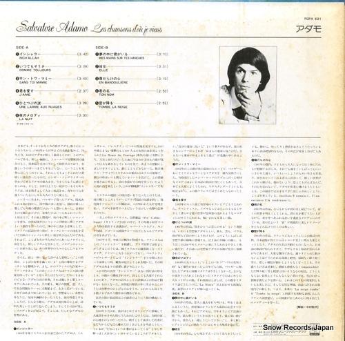 ADAMO, SALVATORE les chansons's d'ou je viens FCPA521 - back cover
