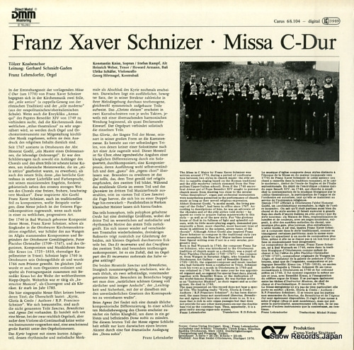 TOLZER KNABENCHOR schnizer; missa c-dur CARUS68.104 - back cover