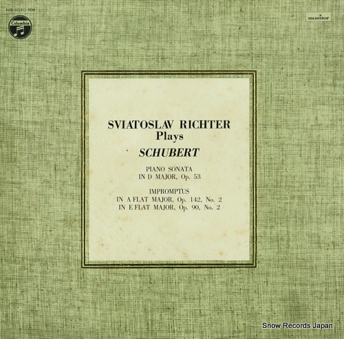 RICHTER, SVIATOSLAV schubert; piano sonata in d major, op.53 HR-1010-RM - front cover