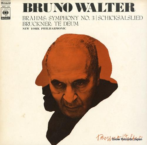 WALTER, BRUNO brahms; symphony no.3 / schicksalslied SOCF119 - front cover