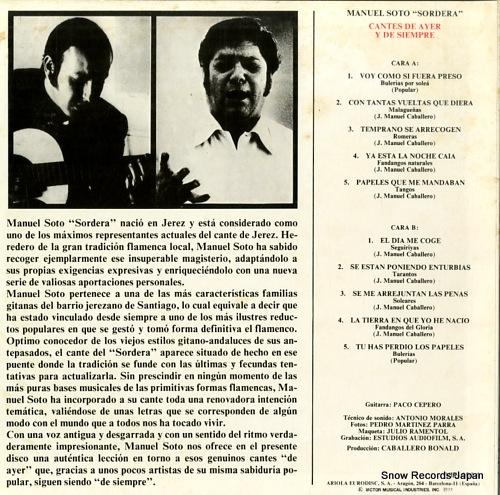 SORDERA, MANUEL SOTO cantes de ayer y de siempre VIP-4014 - back cover