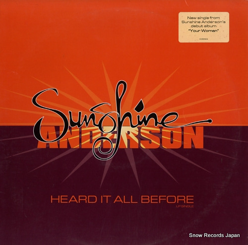 ANDERSON, SUNSHINE heard it all before 0-95524 - front cover