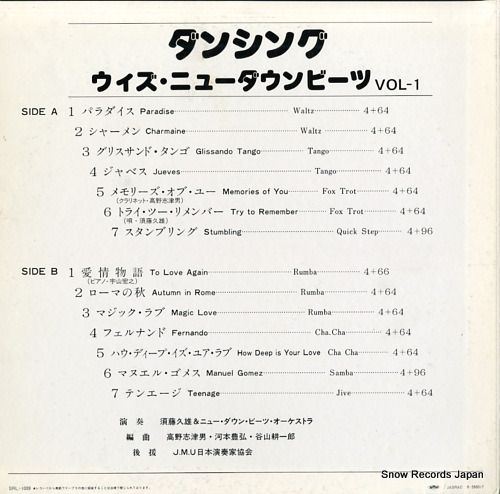 HISAO, SUDO AND NEW DOWNBEAT dancing with new downbeat vol-1 SRL-1009 - back cover