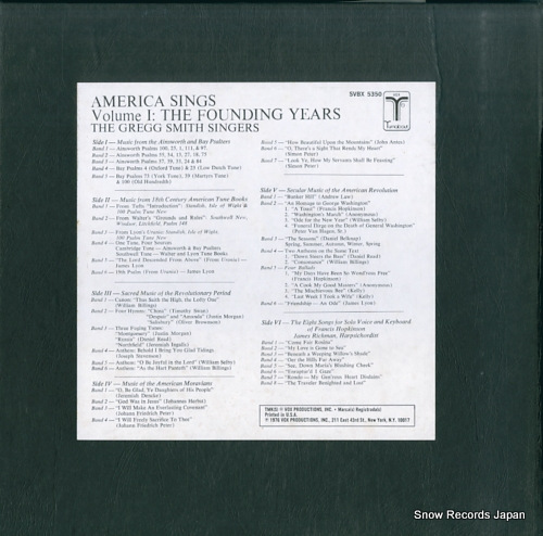 SMITH, GREGG, SINGERS, THE america sings volume 1: the founding years (1620-1800) SVBX5350 - back cover
